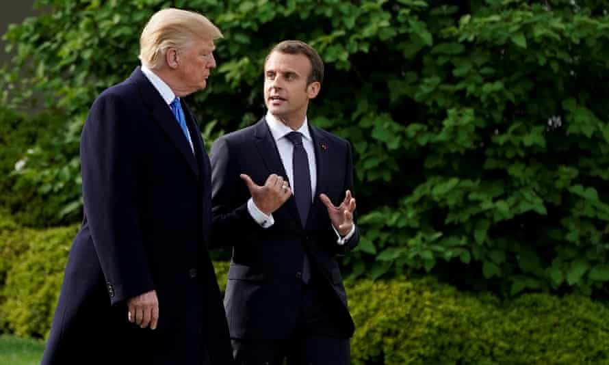 Donald Trump and Emmanuel Macron walk from the Oval Office of the White House in Washington DC on 23 April 2018.