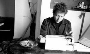 Bob Dylan at a typewriter, 1964.