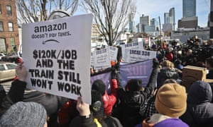 Protesters opposing Amazon headquarters getting subsidies to locate in the New York neighborhood of Long Island City, Queens