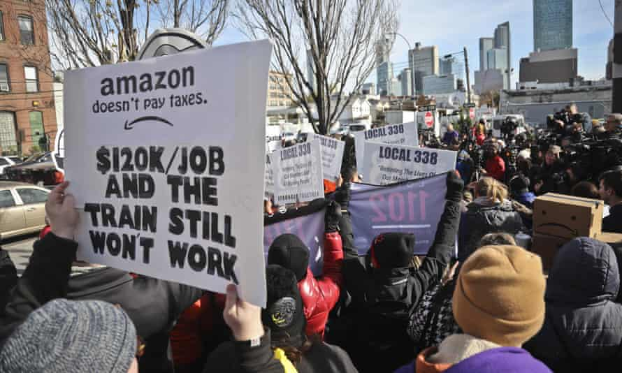 An anti-Amazon in New York City, one of the winning cities.