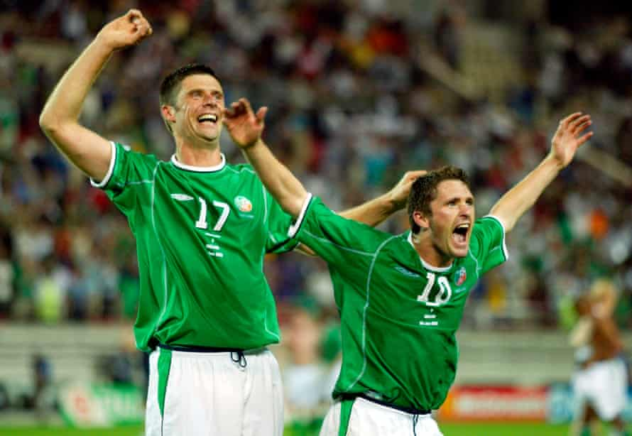 Robbie Keane celebrates after scoring a last-minute goal against Germany in the 2002 World Cup.