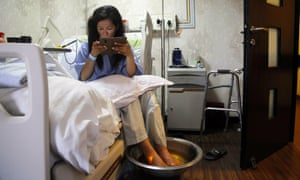 Ameesha Chauhan, from India, who survived dangerous overcrowding on Mount Everest, in hospital in Kathmandu on Tuesday.