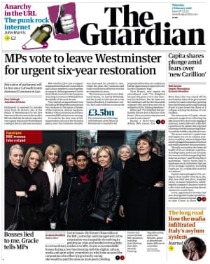 Guardian front page, Thursday 1 February 2018