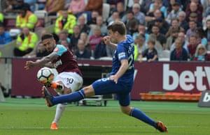 Lanzini scores the third for West Ham.