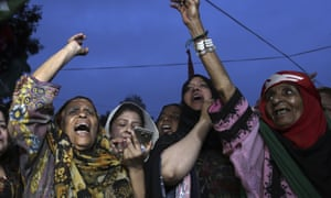 Supporters of Pakistan Peoples party in Karachi on Thursday