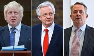 Photo montage of Boris Johnson, David Davis and Liam Fox