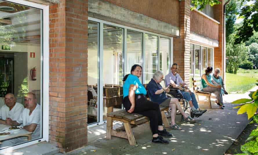 In good company: staff and workers take a lunch break.