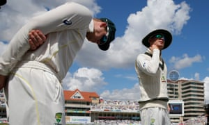 Michael Clarke, right, waits to take his team out after lunch