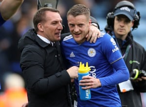 Rodgers and Vardy celebrate their 3-0 win over Arsenal.