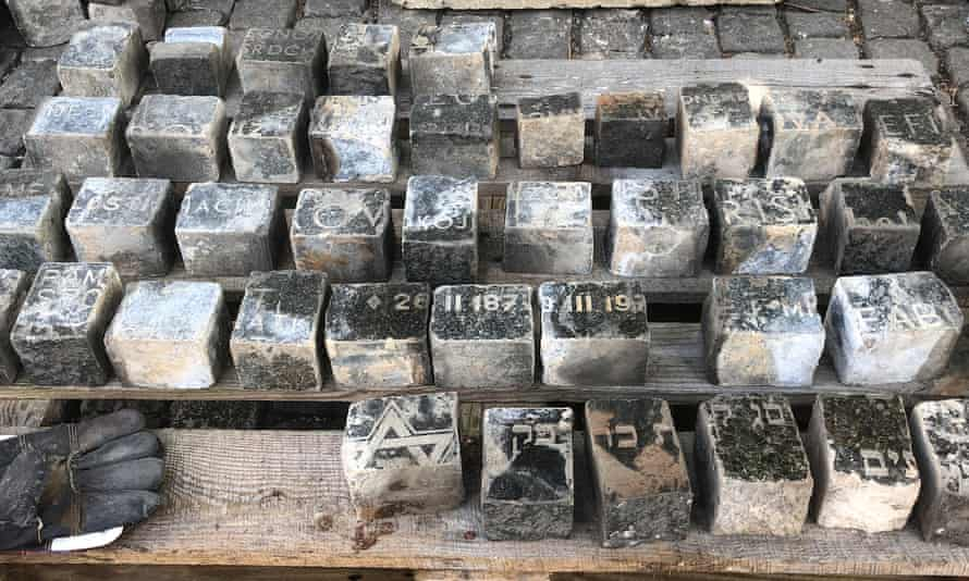 Some of the Jewish headstones dug up by workers in Prague's Wenceslas Square.