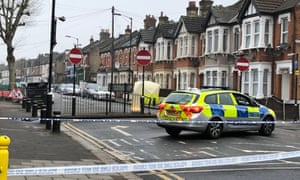 Police at the scene on Church Road in Newham, east London