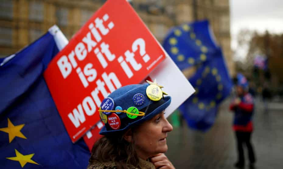 An anti-Brexit demonstrator  outside the Houses of Parliament in London on 26 November 2018.