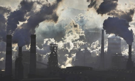 Smokestacks from iron and steel plants in Qian'an, Hebei province, China. The current rate of carbon release is so unprecedented that geological records cannot help predict the impacts of climate change.