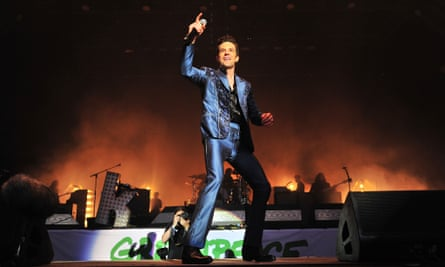 Brandon Flowers of the Killers on the Pyramid stage on Saturday night at Glastonbury 2019.