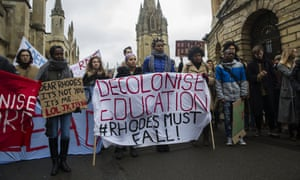 Students protest against the Cecil Rhodes Statute at Oriel College, Oxford