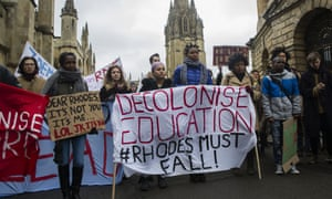 In March 2016, students at Oxford University called for the removal of a statue of Cecil Rhodes and for education to be decolonised.