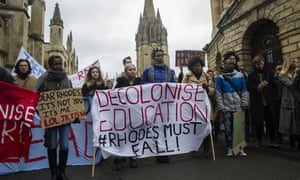 A protest against a statue of 19th century imperialist Cecil Rhodes at Oriel College, Oxford in 2016.