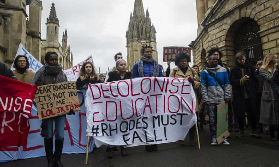 A protest calling for the removal of the Rhodes statue at Oriel College in Oxford in 2016.