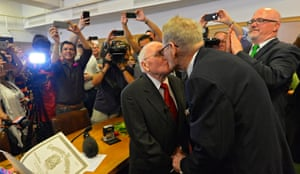 82 year old George Harris (L) and 85 year old Jack Evans (R) take immediate advantage of the ruling to get married in Dallas, Texas after 54 years together.