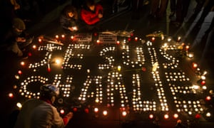 Thousands gathered for a candlelit vigil at Place de la République, Paris, in the wake of the Charlie Hebdo attack in January.