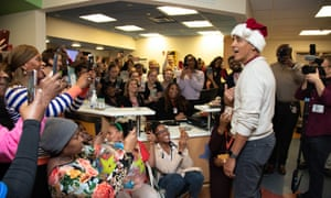 Barack Obama greets patients and staff at Children's National hospital.