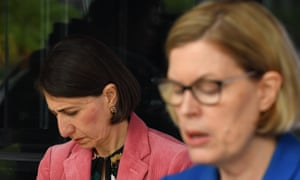 Premier Gladys Berejiklian and NSW chief medical officer Dr. Kerry Chant at Sunday's press conference in Sydney.