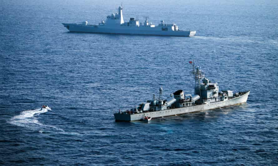 Crew members of China's South Sea fleet taking part in a drill in the Xisha Islands in the South China Sea