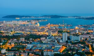 Cityscape of night Toulon