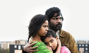 Kalieaswari Srinivasan, Claudine Vinasithamby and Jesuthasan Antonythasan in the film Dheepan