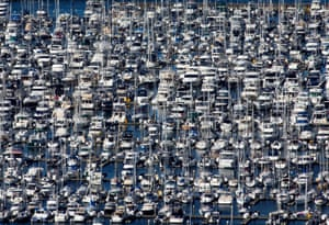 Hundreds of boats docked at the Elliott Bay Marina during the outbreak
