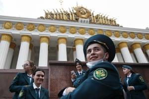 Smiling people in uniform