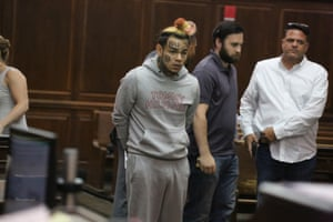 6ix9ine in court in Manhattan in July.