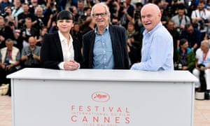 Squires with director Ken Loach and actor Dave Johns at the I, Daniel Blake photoshoot in Cannes.
