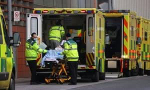 Ambulances at the Royal London Hospital on Saturday 9 January.