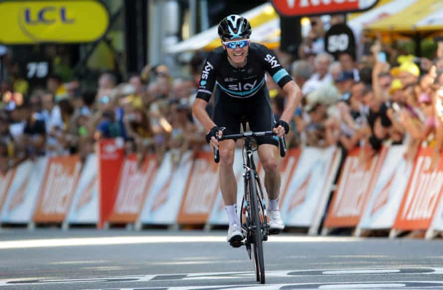 Chris Froome crosses the line to win stage eight in Bagnères-de-Luchon and steal a march on his rivals