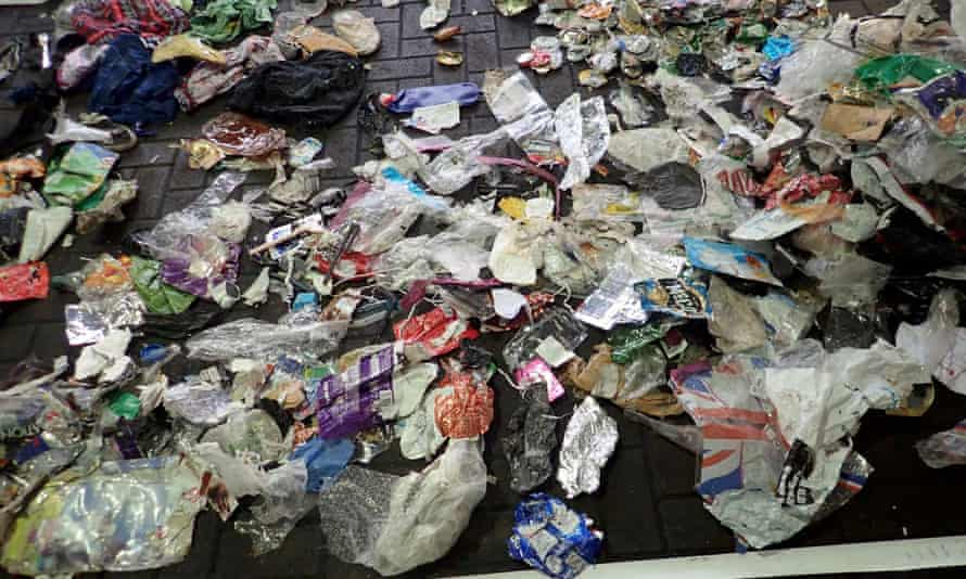 Some of the rubbish marked as waste paper for recycling