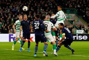 Celtic's Christopher Jullien scores their second.