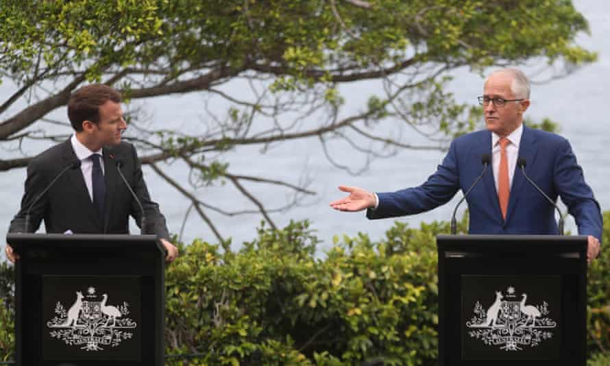 Emmanuel Macron and Malcolm Turnbull in Sydney on Wednesday