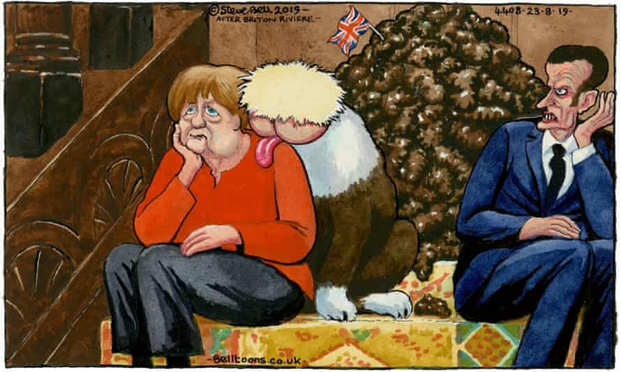 'In a reprise of Sympathy in 2019, a much older Merkel takes on the role of the girl on the stairs, forced to bear the attentions of the monstrous Arse Dog Johnson.'