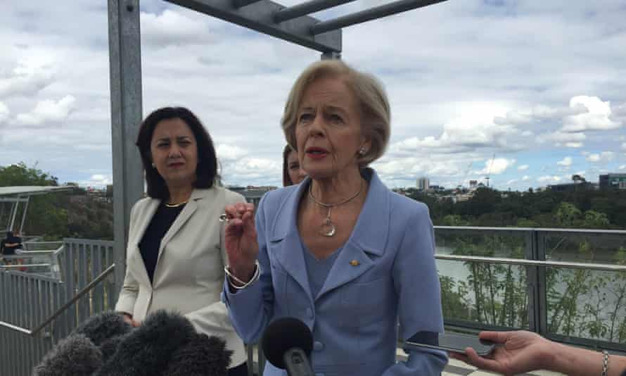 Queensland premier Annastacia Palaszczuk (left) announces the appointment of Dame Quentin Bryce as the chair of a special government council to fast-track domestic violence reform on 13 September 2015.