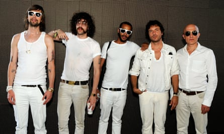 Zdar, second from right, with other stars of the French touch scene: Busy P, Gaspard Auge of Justice, DJ Mehdi and Boom Bass.