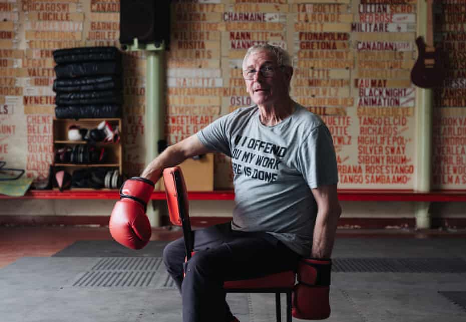 Portrait of Peter Hill, 76, at the shed he uses as a community gym in Fryerstown, Victoria