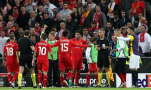 Liverpool players appeal to the match officials as they thought there was an offside call.