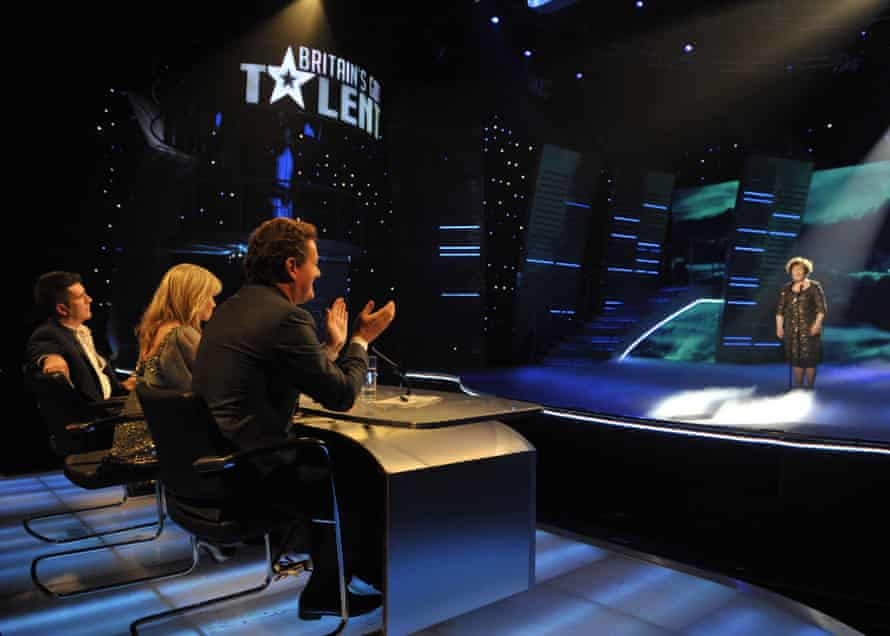 Simon Cowell, Amanda Holden and Piers Morgan judge a performance by Susan Boyle on Britain's Got Talent in 2009