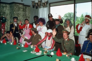 The England cricket team sit down for Christmas lunch while in Melbourne during the 1982-83 Ashes tour