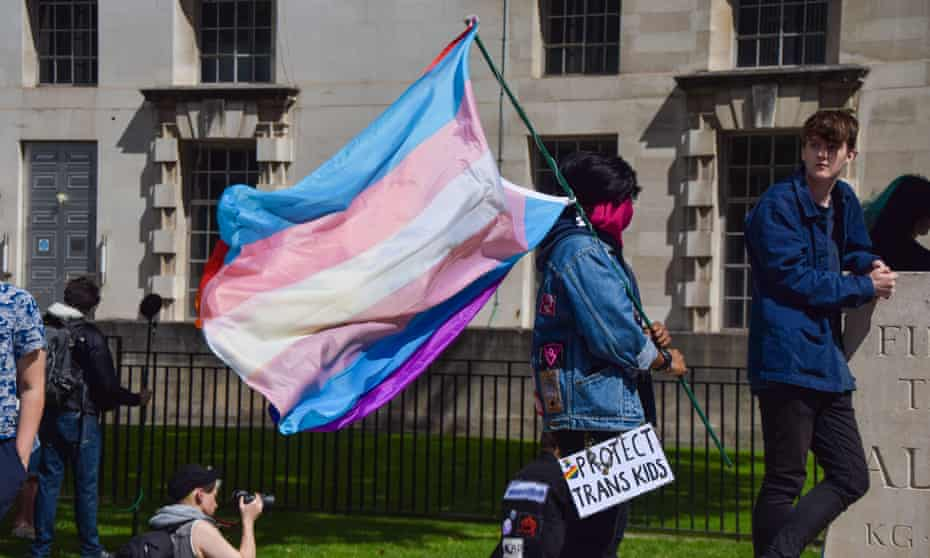 A protester during a trans rights demonstration outside Downing Street this month.