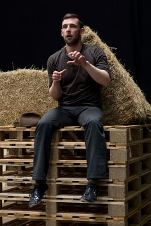 Make hay … Gareth Aled during the rehearsals.