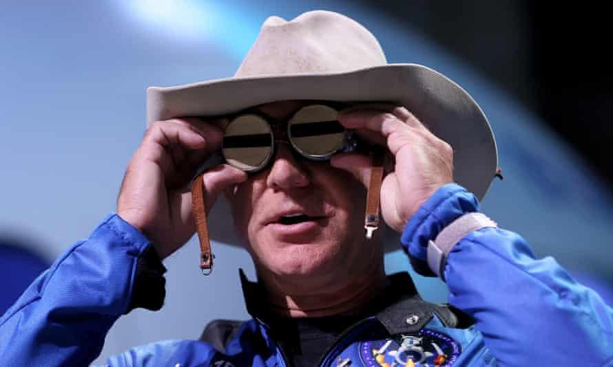 Jeff Bezos in Van Horn, Texas after his space flight, 20 July 2021.