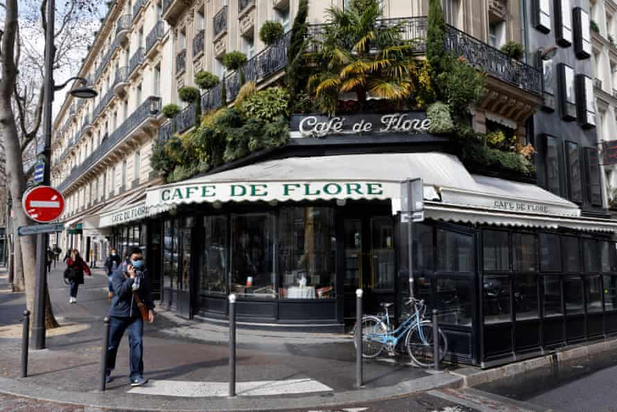 The famous Cafe de Flore is closed along with all cafes and restaurants to curb the spread of coronavirus in Paris.