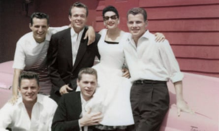 Bowers (second from left, back row) with friends.